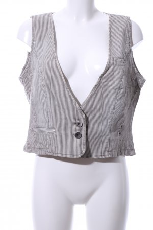 Marc Cain Denim Vest light grey-white striped pattern business style