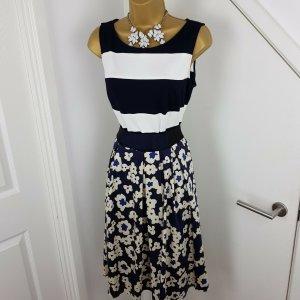 MARC CAIN Kleid geblümt dunkelblau Gr. N4 40 Sommerkleid Oberteil Gestreift