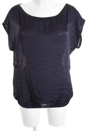 Marc Cain Kurzarm-Bluse dunkelblau-schwarz schlichter Stil