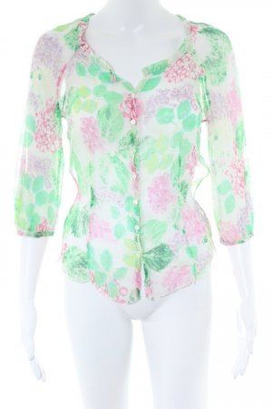 Marc Cain Langarm-Bluse florales Muster Logo-Applikation