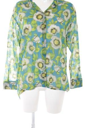 Marc Cain Langarm-Bluse grün-stahlblau Blumenmuster Casual-Look