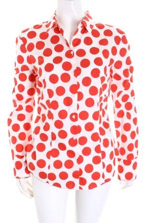 Marc Cain Langarm-Bluse weiß-rot Punktemuster minimalistischer Stil