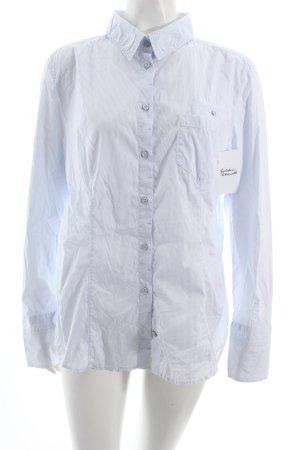 Marc Cain Langarmhemd weiß-hellblau Streifenmuster klassischer Stil