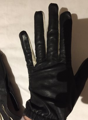 Marc Cain Leather Gloves black-white leather