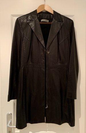 Marc Cain Manteau en cuir noir