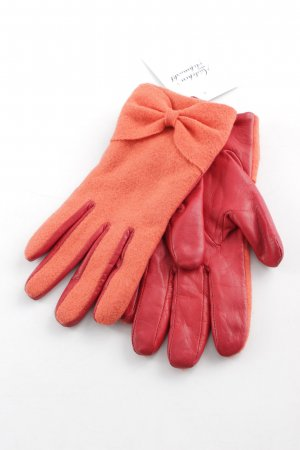 Marc Cain Leather Gloves dark red-orange printed lettering elegant