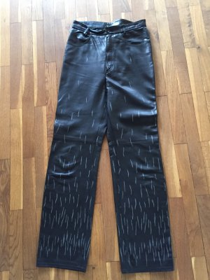 Marc Cain Pantalone in pelle nero-argento