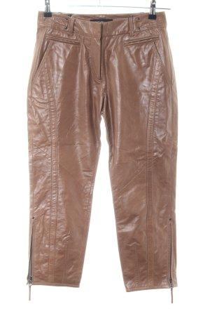 Marc Cain Pantalone in pelle marrone stile casual