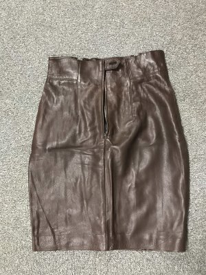 Marc Cain Leather Skirt brown red