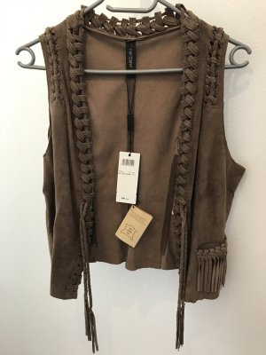 Marc Cain Fringed Vest brown leather