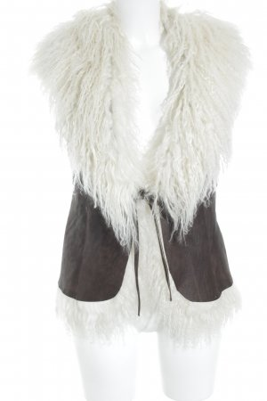 Marc Cain Leather Vest dark brown-natural white fluffy