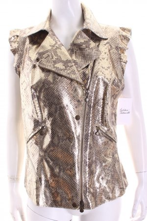 Marc Cain Leather Vest gold-colored extravagant style