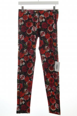 Marc Cain Leggings schwarz-rot Blumenmuster Romantik-Look