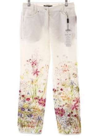 Marc Cain Leinenhose wollweiß florales Muster Casual-Look