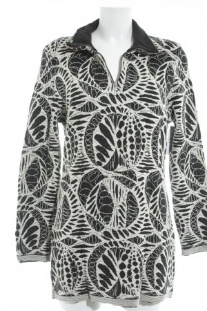 Marc Cain Long Sweater natural white-black abstract pattern classic style
