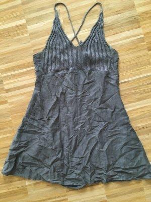 Marc Cain Mini-Kleid aus Leinen mit Häkeltop-Details in Grau-Silber