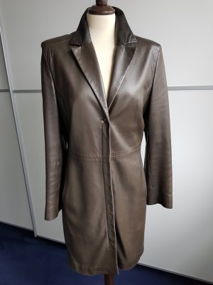 Marc Cain Leather Coat dark green leather