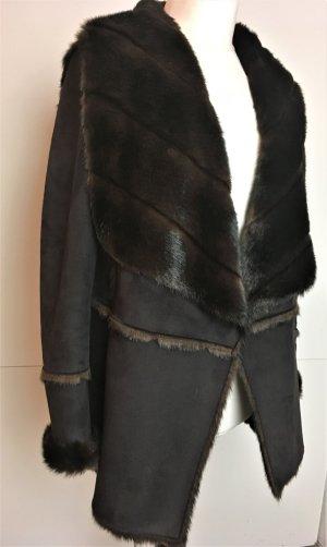 * MARC CAIN * NEU ! WILDLEDER PELZ JACKE braun fake fur N 2 ( 36 38 )