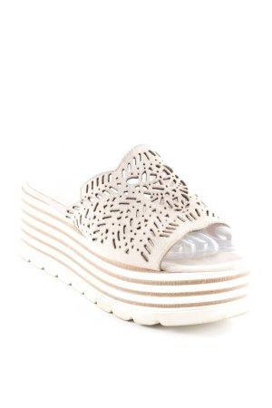 Marc Cain Plateau-Sandalen graubraun-weiß Streifenmuster Casual-Look