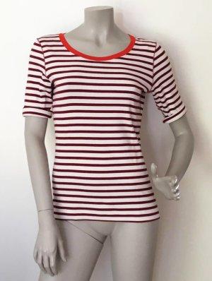 Marc Cain Ripp Ringel Shirt offwhite rot gestreift Baumwolle Elastan Gr. N4 (= 40) FAST WIE NEU