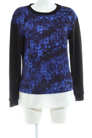 Marc Cain Rundhalspullover schwarz-blau abstraktes Muster Casual-Look