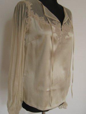 MARC CAIN Seiden Bluse N2 36 38 Seide Spitze transparent nude beige 1xgetr