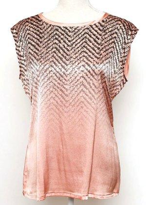 Marc Cain Seiden Top Bluse rosa grau schwarz 40 L