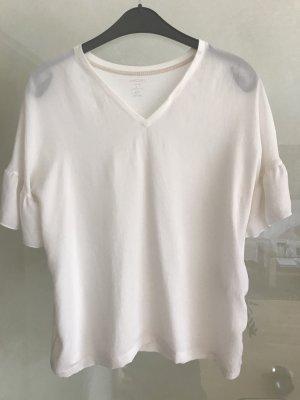 Marc Cain T-shirt col en V blanc cassé tissu mixte