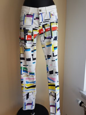 Marc Cain Slim Jeans, Weiß mit vorne Bunt Design