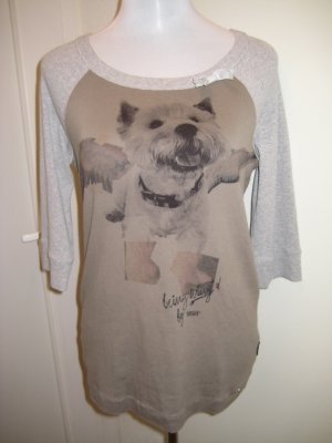 Marc Cain Sports Shirt Grau mit Malteser Hund Druck Grau Beige Gr.M