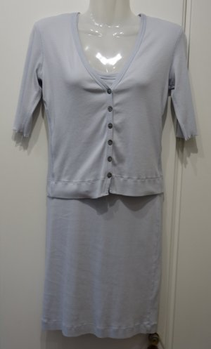 MARC CAIN Sports Twin Set Kleid + Cardigan Gr. S (36) pastell-blau Clean Chic