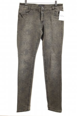 Marc Cain Straight-Leg Jeans beige-grau Blumenmuster Casual-Look