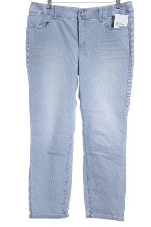 Marc Cain Pantalone elasticizzato blu acciaio-bianco motivo a righe stile casual