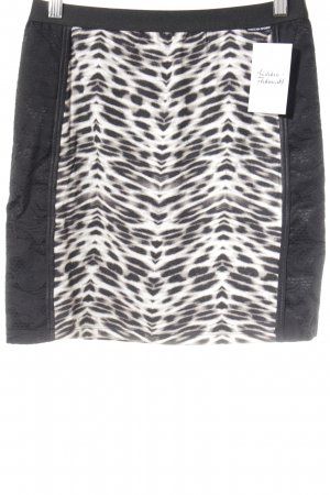 Marc Cain Falda stretch blanco-negro estampado de leopardo