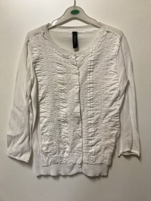 Marc Cain Short Sleeve Knitted Jacket white cotton