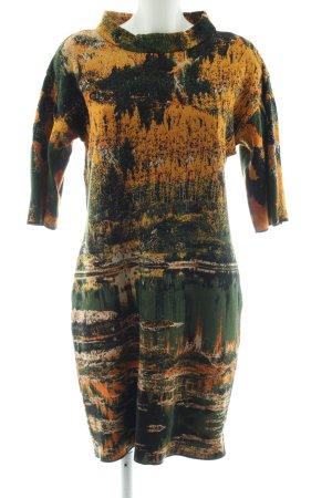 Marc Cain Vestido tejido caqui-naranja claro estampado con diseño abstracto