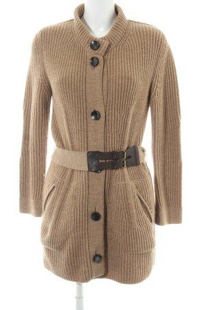 Marc Cain Manteau en tricot beige-brun foncé Motif de tissage