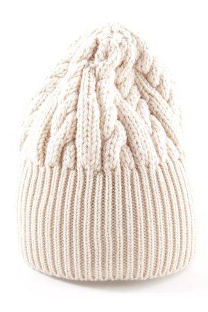 Marc Cain Chapeau en tricot blanc cassé torsades style décontracté