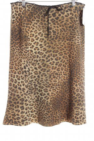 Marc Cain Knitted Skirt light brown-black animal pattern extravagant style