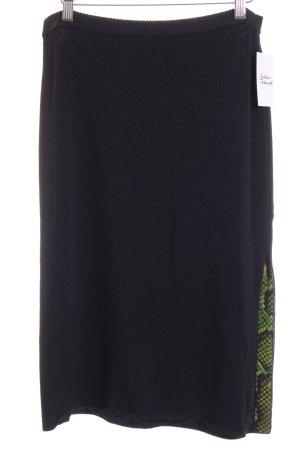 Marc Cain Jupe tricotée noir-vert motif animal style classique