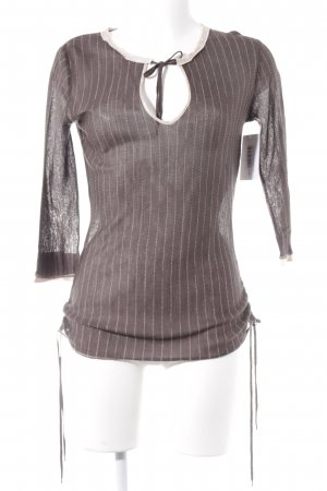 Marc Cain Knitted Jumper grey brown-pink striped pattern casual look