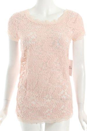 Marc Cain T-Shirt rosa Blumenmuster Transparenz-Optik