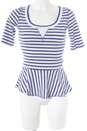 Marc Cain T-Shirt weiß-dunkelviolett Streifenmuster Casual-Look