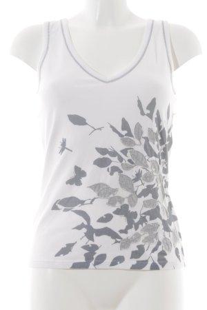 Marc Cain Tanktop weiß-graublau florales Muster Casual-Look