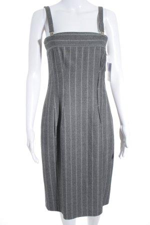 Marc Cain Trägerkleid hellgrau-grau Streifenmuster klassischer Stil