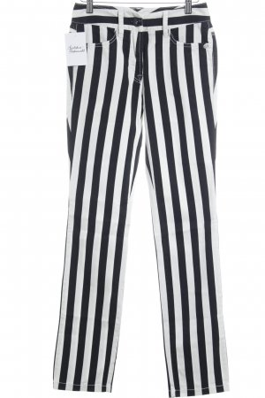 Marc Cain Treggings black-white striped pattern extravagant style