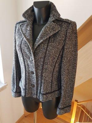 Marc Cain Tweed Kurz Wolle Jacke Blazer N3 38/40 Salt & Pepper Herringbone