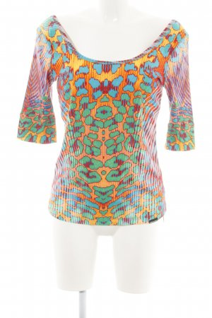 Marc Cain Boatneck Shirt light orange-green abstract pattern extravagant style