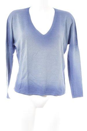 Marc Cain V-Ausschnitt-Pullover blau-blassblau Farbverlauf Casual-Look