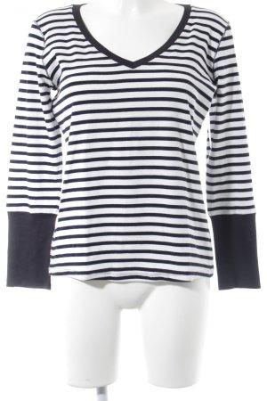 Marc Cain V-Ausschnitt-Pullover dunkelblau-weiß Streifenmuster Casual-Look